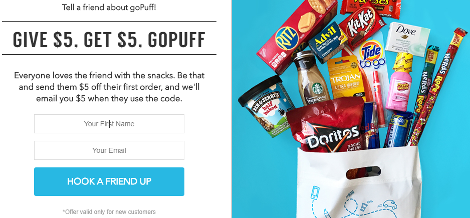 Image result for gopuff refer and earn offer
